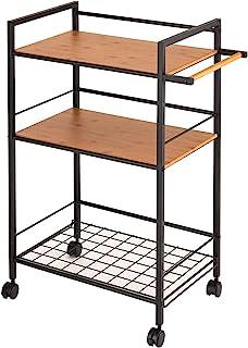 DOSHISHA 厨房推车 黑色 商品尺寸:宽58.2×深34.5×高80.5厘米 厨房置物架 推车 3层 NKW3-60W