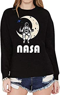 NASA 女式可爱宇航员月亮空间图案短袖 T 恤上衣 黑色 #1 Medium