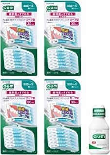 GUM(ガム) 牙缝刷 曲线型 橡胶型 牙周专业护理 [尺寸:SSS ~ S] 30P 4 件装