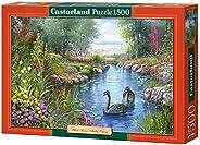 Castorland 巧思进口拼图1500片 浪漫黑天鹅 生日礼品装饰画C-151042-2