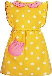 可爱女孩围裙罩衣围兜 适合吃绘画烘焙 防水衬里 年龄 6 个月至 4 岁