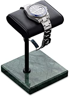 手表支架 | 手工意大利纳帕皮革天然大理石底座 | 手表展示支架适合所有手表 | 珠宝支架 | 手表收纳器和支架 | 手表配件(*/黑色/黑色)