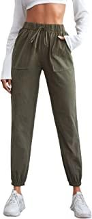 MakeMeChic 女式领带结高弹性腰裤口袋慢跑裤