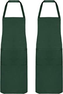 Penguin Home 中性条纹 * 围裙,可调节颈带,厨师品质,重型,大口袋,70x90 厘米 2 件套森林,棉,纯*,2 件装