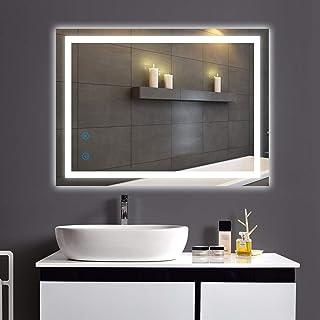 HOMHUM LED 浴室镜子 可调光 防雾壁挂式镜子 带灯 24 x 32 英寸 True CRI 95+,CCT 可调节,UL 认证和 IP 54 防水,智能触摸按钮,垂直和水平