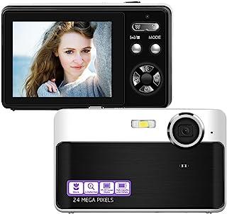 数码相机小型相机 2400 万像素数码相机迷你相机 2.4 英寸 LCD 屏幕视频博客相机带 3 倍数码变焦微距功能非常适合成人、儿童初学者