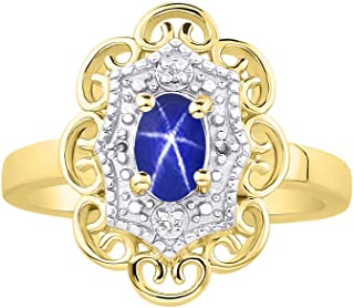 RYLOS 花卉图案戒指 椭圆形宝石和纯正闪亮钻石 14K 黄金镀银 .925-6X4MM 彩色石头诞生石戒指 Blue Star