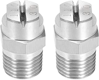 uxcell 扁平风扇喷头 - 1/4BSPT 外螺纹 304 不锈钢喷嘴 - 2 件 1/4BSPT (110 Degree, 3.6mm Orifice) a19042500ux0178