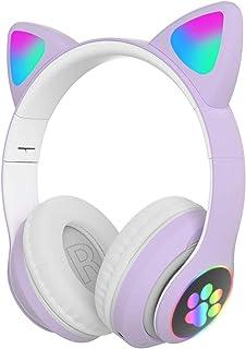 无线蓝牙耳机,LED 发光猫耳无线蓝牙 5.0 游戏耳机,可折叠头戴式高保真立体声耳机,玩家耳机