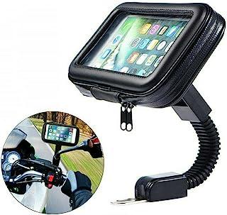 摩托车通用手机支架防水摩托车手机支架带防雨罩 360° 旋转摩托车后视镜支架 XL 码,适合所有手机和 GPS 设备