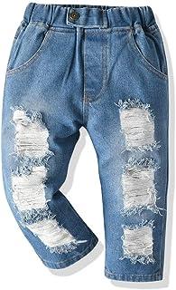 JMOORY 女婴男孩牛仔裤幼儿弹性腰破洞牛仔裤