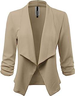 女式弹力七分袖开襟夹克(美国制造)