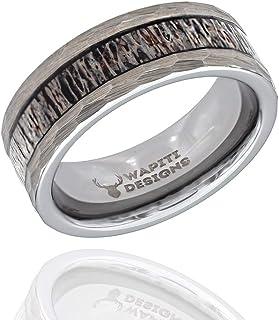 Wapiti Designs 锻造钨鹿角镶嵌戒指