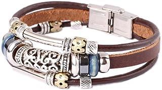 FAIRY COUPLE 复古皮革手链适合男士、女士、青少年、男孩和女孩串珠合金腕带手链 手工制作