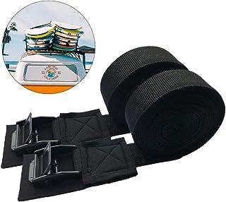捆绑带 Paddsun 2 件装行李带 SUV 车顶行李架重型牵引可调节凸轮锁扣系紧适用于摩托车货运卡车拖车1199.7 x 1英寸(约299.7 x 2.5厘米)黑色