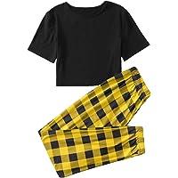 SweatyRocks 女式 2 件套睡衣短袖 T 恤上衣带裤子家居服睡衣套装
