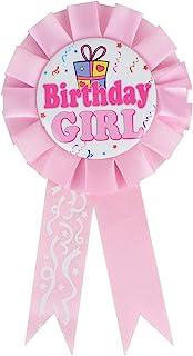 缎面面料生日女孩锡板徽章别针,儿童生日玫瑰,胸针纽扣,适合女孩生日派对装饰
