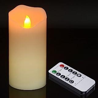 真蜡 LED 柱状蜡烛,Ymenow 1 件 15.24 厘米电池供电蜡烛灯,带遥控闪烁无焰蜡烛,适合房间婚礼约会装饰