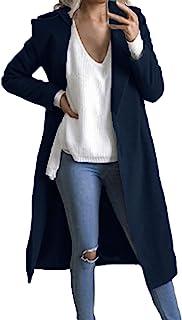 Auxo 女式风衣长袖豌豆外套翻领前开长款夹克外套外套