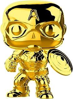 Funko Pop Marvel漫威:Marvel Studios 10 - 美国队长(金色铬)收藏模型,多色