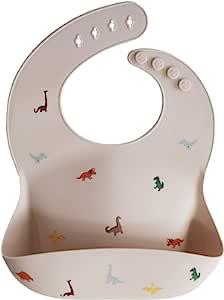 mushie 硅胶婴儿围嘴 | 可调节贴合防水围嘴(恐龙)
