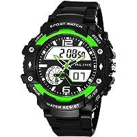 Alike AK15117 新品上架 中性款豪华时尚运动手表 双时显示 多功能石英数字闹钟计时器 黑色橡胶表带 防水腕表…