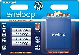 Panasonic 松下电器 BK-4MCCEC4BE Eneloop Micro AAA 750 mAh 可充电电池,带电池盒(4 件装)