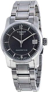 Tissot T-Classic 自动黑色表盘钛女士手表 T0872074405700