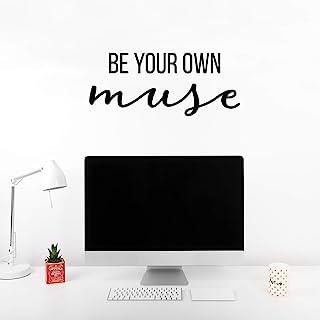 乙烯基墙艺术贴纸 - Be Your Own Muse - 26.67 厘米 x 63.5 厘米 - 现代励志乐观可爱少女语录贴纸,适用于女孩房间卧室衣柜游戏室客厅办公室瑜伽芭蕾装饰(黑色)