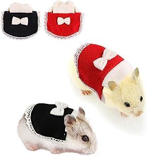 ESOEM 仓鼠服装 2 件套迷你裙带蝴蝶结和蕾丝小动物服装宠物派对角色扮演服装万圣节圣诞节服装(M)