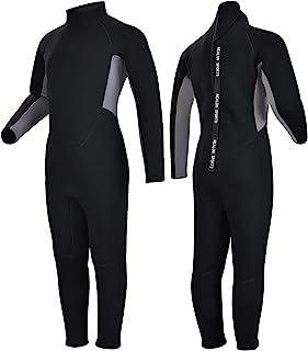 REALON 儿童潜水服短袖男孩女孩 3 毫米氯丁橡胶连体保暖泳衣 2 毫米温暖长袖湿衣罩幼儿儿童青少年游泳冲浪潜水(3 毫米灰色儿童全装,XL 码)