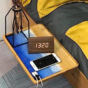 床边储物托盘(天然竹木:36.1 x 23.9 x 9.1 厘米)