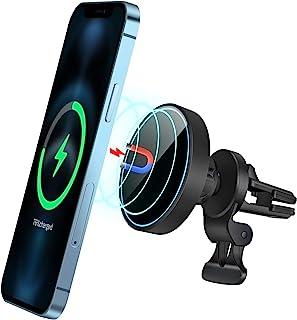 HVDI 磁性*充电器 15W 磁性无线车载充电器磁性无线充电器安装快速无线手机车载充电器 360° 车载通风口手机支架适用于 iPhone 12/ Pro/XS/Max/XR/Mini/Mag-Safe 手机壳