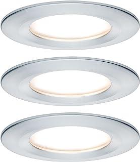 Paulmann 939.01 高级EBL套装,Coin Slim 可调光圆形旋转LED灯,3x6.8W,2700K,230V,51毫米,铝 ,刷纹,嵌入式筒灯,嵌入式灯,93901
