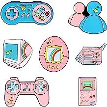 CheeseandU 7 件装可爱卡通视频游戏搪瓷别针套装粉红色视频游戏控制器胸针牛仔衬衫袋卡通创意朋克首饰礼物儿童女孩