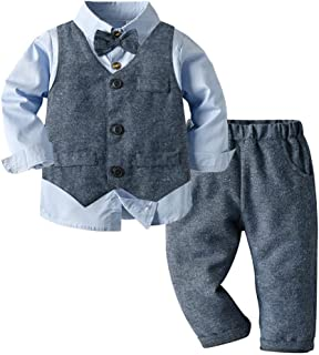 ARTMINE 男孩 3 件套背心套装长袖衬衫和裤子套装带领带