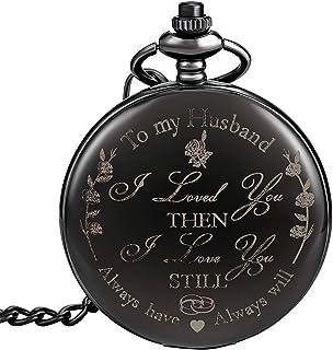 怀表,带链怀表,男士圣诞毕业生日礼物,父亲节爸爸阿拉伯数字蒸汽朋克雕刻复古石英怀表