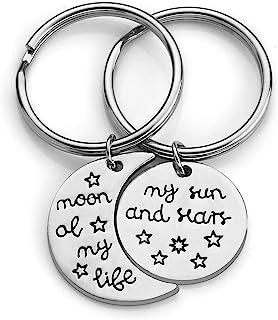 JOVIVI 银合金圆形吊坠情侣钥匙链 送给他她雕刻文字月亮 我的生命/我的太阳和星星饰品