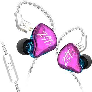 KZ ZST X 1BA+1DD 动态驱动入耳式耳机运动 DJ HiFi 耳机*可拆卸电缆降噪耳机(带麦克风,紫色)