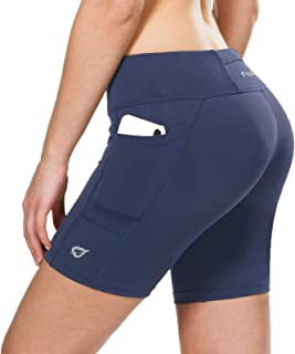 BALEAF 女式骑行短裤带口袋压缩锻炼跑步瑜伽氨纶短裤 7 英寸(约 17.2 厘米)
