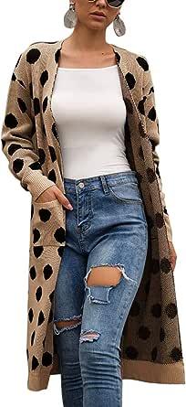 女式针织开襟毛衣 - 宽松前开襟长袖带口袋长袖外套