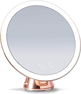Fancii LED 发光 10 倍放大化妆镜,可充电 - 3 种可调光三色灯光设置,吸妆镜,金属饰面,无绳旅行浴室镜 - Lana (玫瑰金)