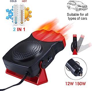 便携式汽车取暖器,2 合 1 快速加热汽车取暖器,带加热冷却除霜除雾器汽车挡风玻璃风扇 12V 150W,3 插座插头可调节恒温器(黑红色)