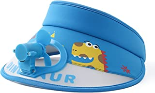 SOYOMASS 儿童遮阳板,带迷你风扇,UPF 50 宽边防汗带太阳帽,带 USB 风扇可调节帽子