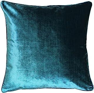 Riva Paoletti 奢华天鹅绒靠垫套 - 蓝* - 柔软天鹅绒面料 - 双面使用 - 隐藏式拉链开合 - 可机洗 - * 涤纶 - 55 x 55 厘米(22 英寸 x 22 英寸)