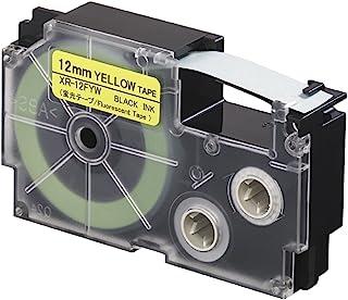 CASIO 卡西欧 EZ-Label Printer 标签打印机 XR-12FYW 荧光标签带 自粘 12 毫米 x 5.5 米 黑字黄色