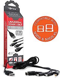 Tomee 通用电源线适用于 New 2DS XL/ New 3DS/ New 3DS XL/ 2DS/ 3DS XL/ 3DS/ DSi XL/ DSi/ DS Lite/ DS/ GBA SP/ PSP 3000/ PSP 2000/ PSP 1000