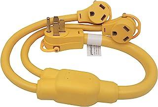 Parkworld 692064 RV 50A 插头 NEMA 14-50P 至 TT-30R 双 RV 30A 插座,Y 分配器适配器线,3 英尺