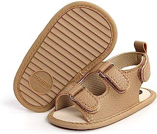 FEAMODAL 婴儿男孩女孩凉鞋夏季户外软橡胶鞋底防滑幼儿平底鞋学步鞋