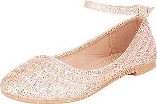 Cambridge Select 女士闪光水晶水钻踝带芭蕾平底鞋